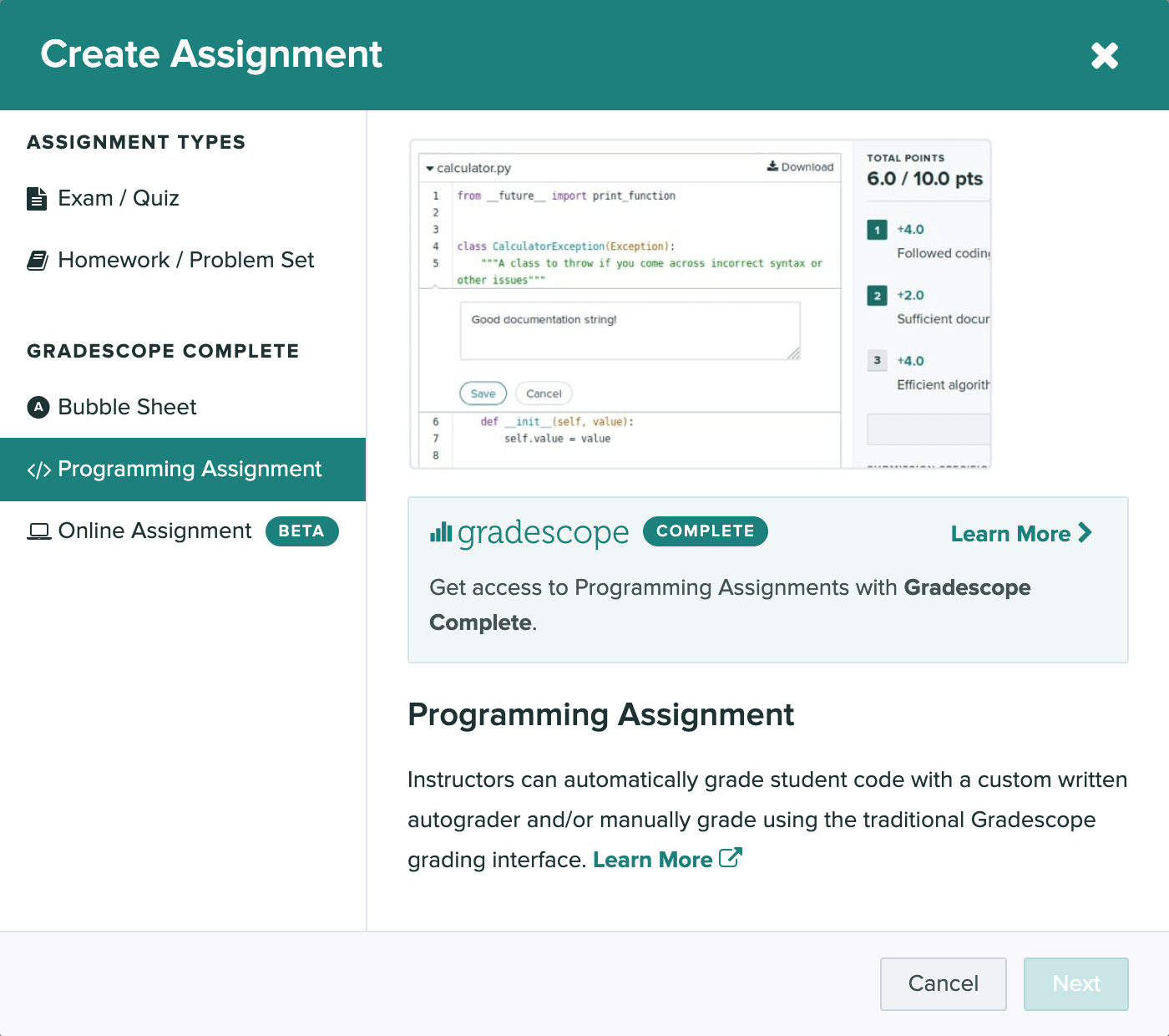 The create assignment modal is open and the bubble sheet option is selected.