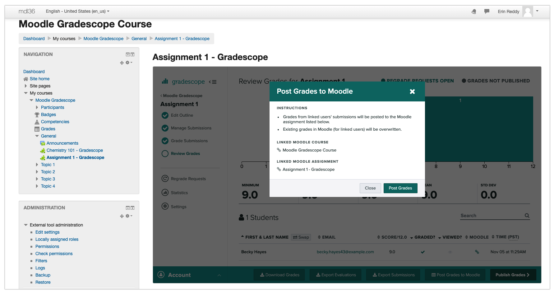 Instructor posting Gradescope grades to Moodle