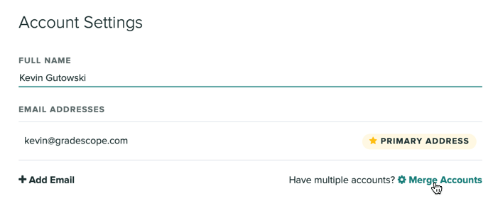 The merge accounts button is on the Account Settings pagae underneath your email addresses.