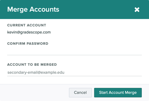 The merge accounts modal showing that you need a password and the email address of the account you want to merge with.