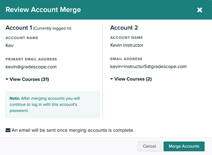 A modal showing information for each account that are about to be merged together.