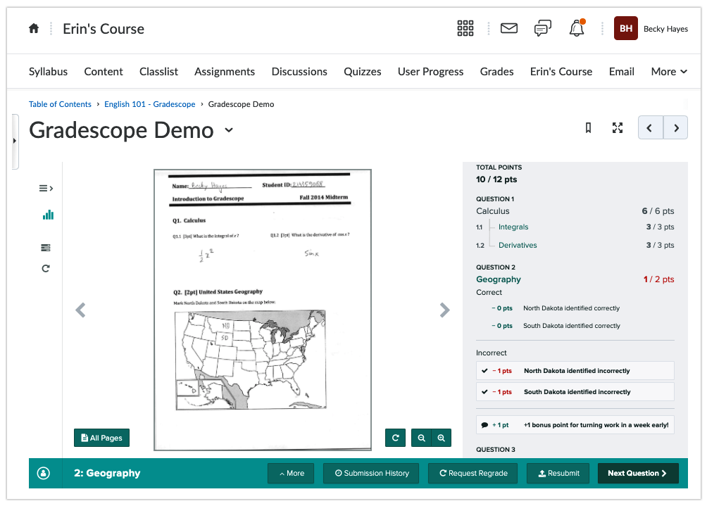 Student viewing Gradescope assignment grades in D2L with Gradescope embedded