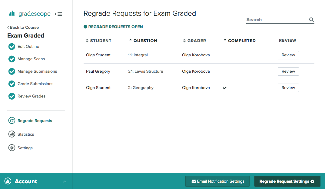Regrade Requests page for a sample assignment
