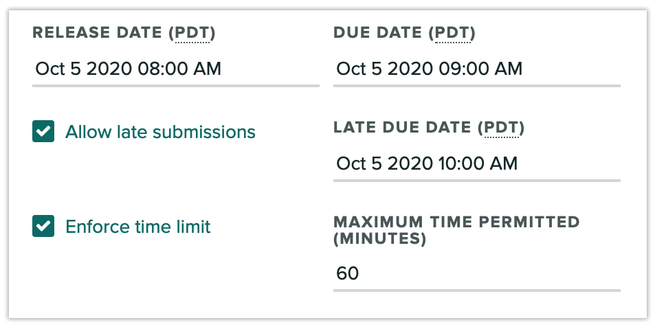 Assignment settings with release date, due date, and late due date set