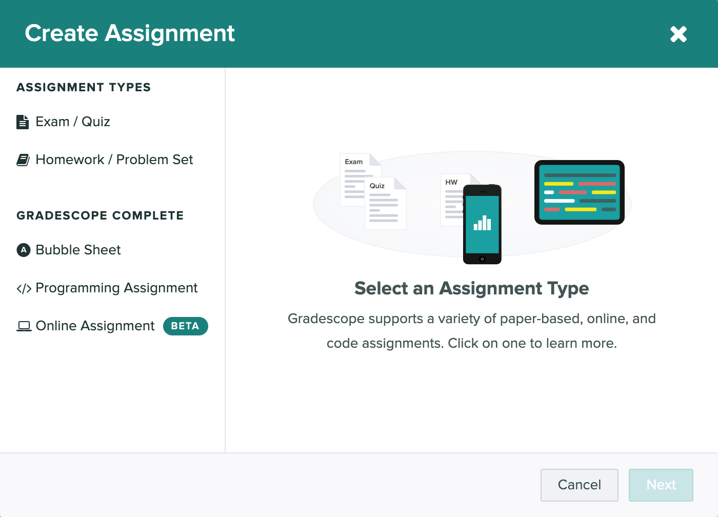 The Create Assignment modal showing off all the assignment types on Gradescope.