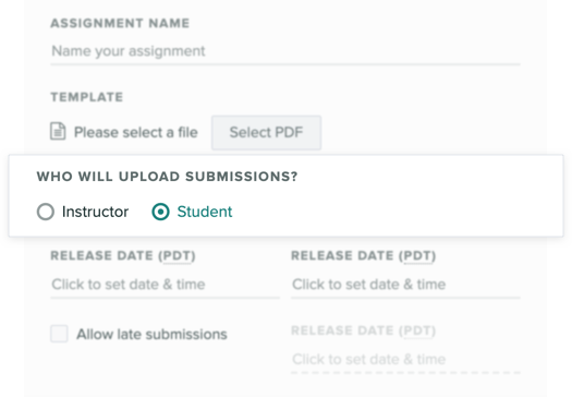 Assignment settings focused on the setting to indicate who uploads submissions to the assignment