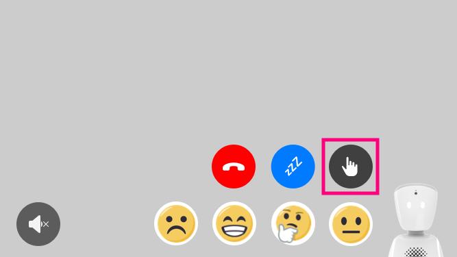 AV1 call menu showing placement of raise hand button