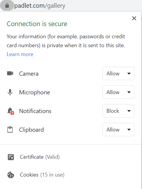 chrome notifications panel showing permissions for camera notifications clipboard and mic