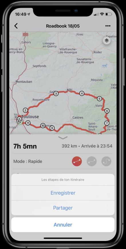 partager itinéraire iphone