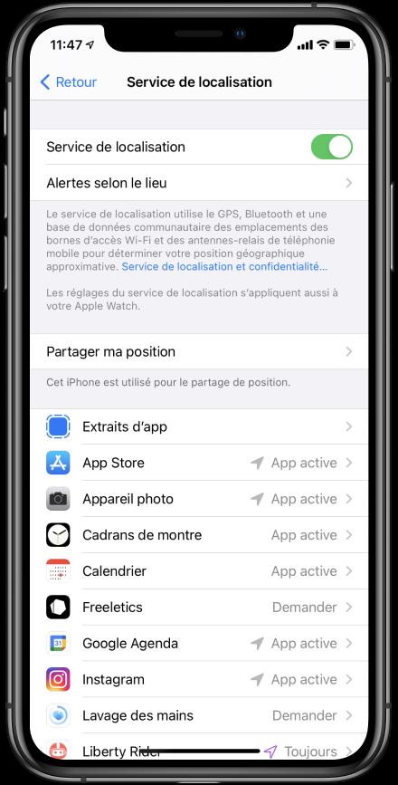 position toujours précise iOS 14