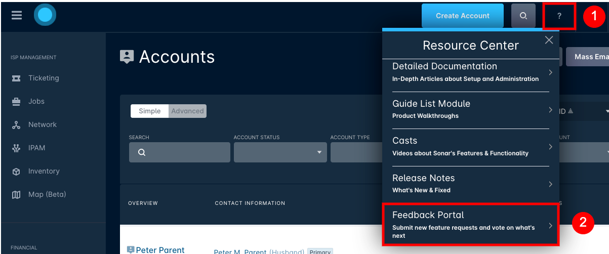 screen shot of Sonar's resource center with Feedback Portal circled