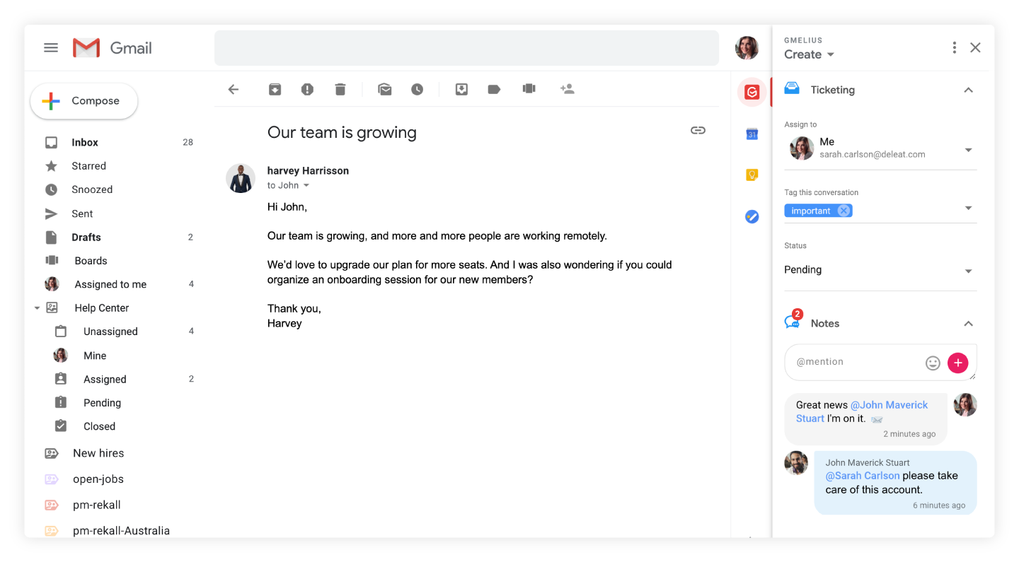 shared notes in Gmelius