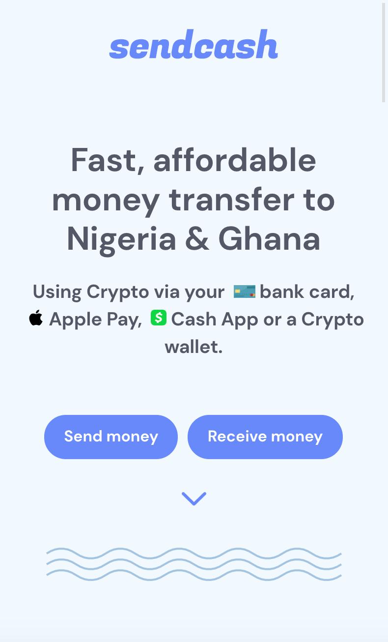 Sendcash homepage