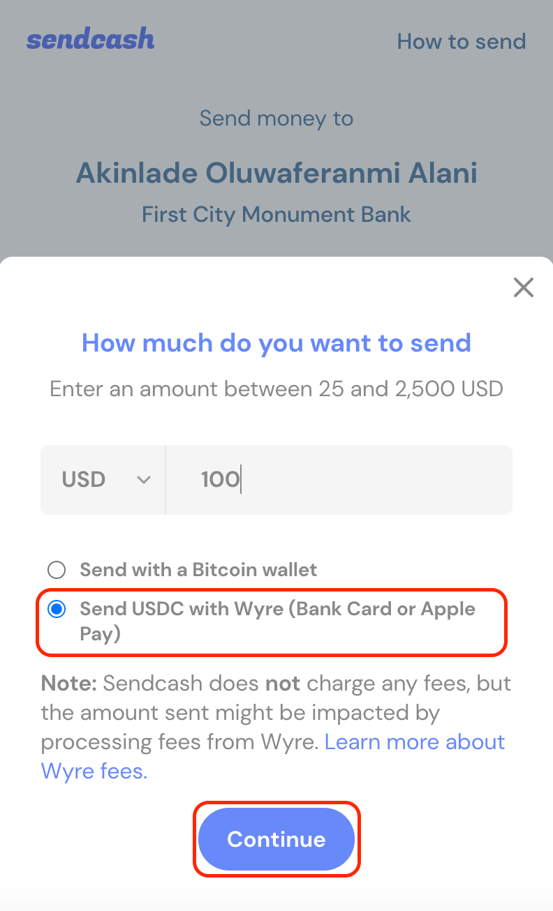 Enter Amount you wish to send and pick Wyre