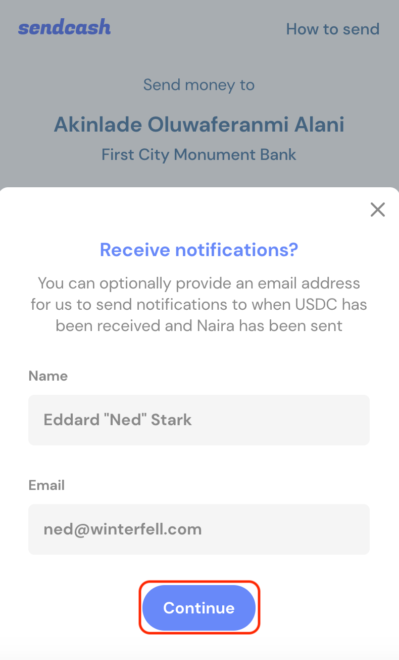 Enter Name and Email Address to receive notifications.