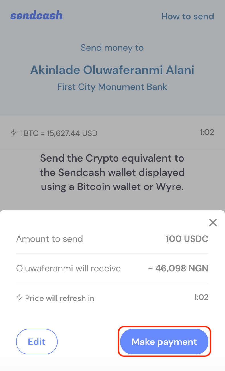 Start the payment process