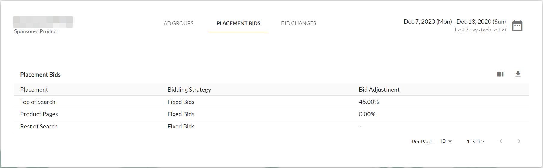 Screenshot of placement bid settings inside of Ad Badger software.