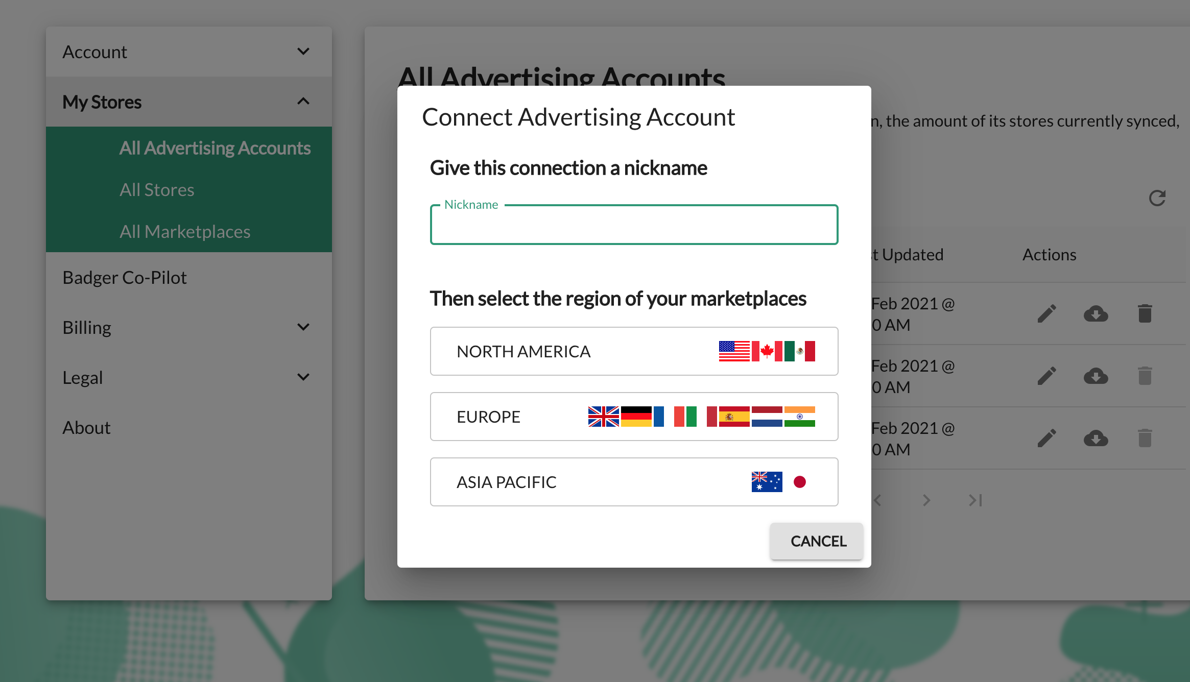 A popup showing how to connect your Amazon Advertising account to Ad Badger.
