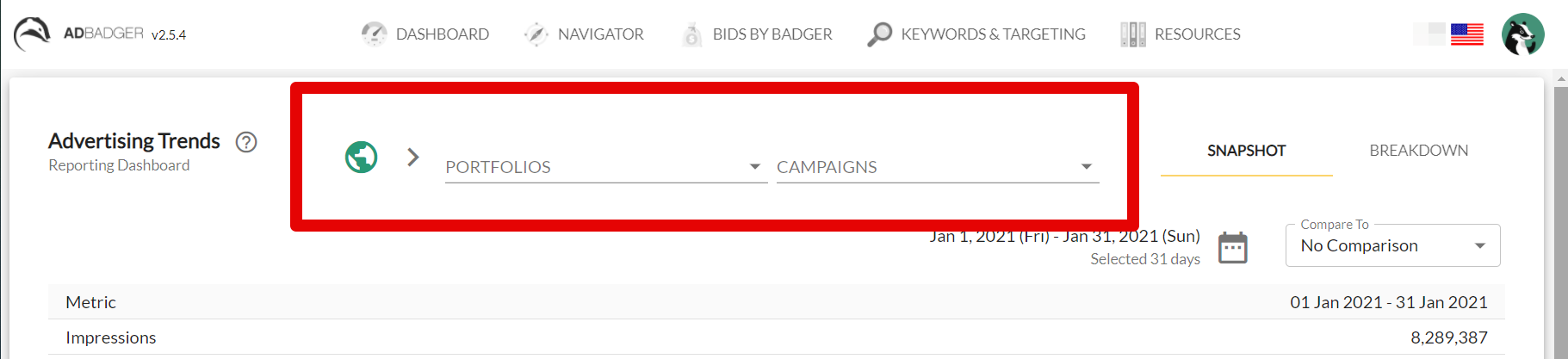 A screenshot of the SuperSearch feature inside of the Ad Badger Advertising Trends Report.
