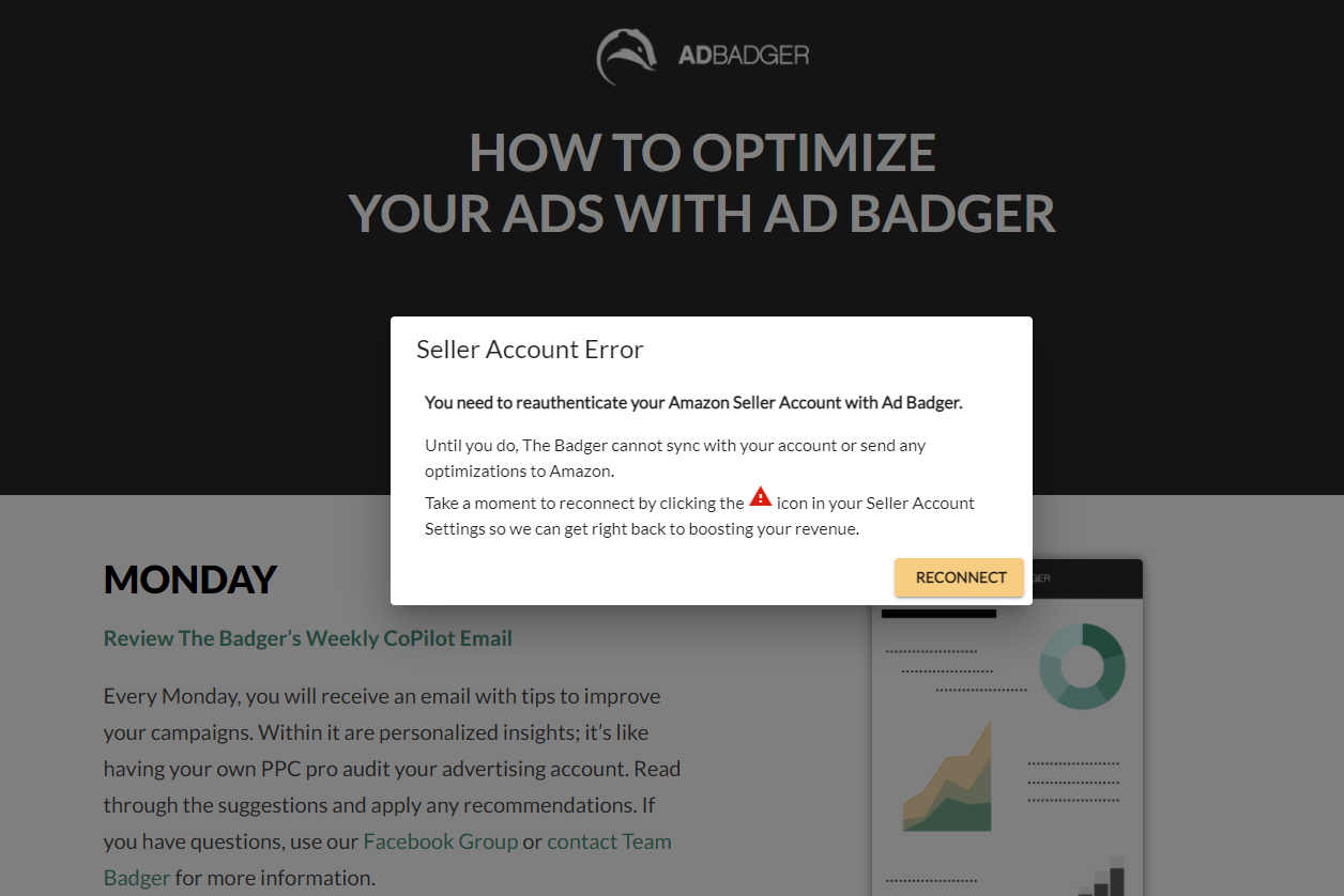 Seller Account error: You need to reauthenticate your Amazon Seller Account with Ad Badger